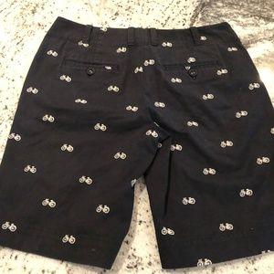 Talbots Shorts - Talbots Navy Bicycle Print Bermuda Shorts 4P